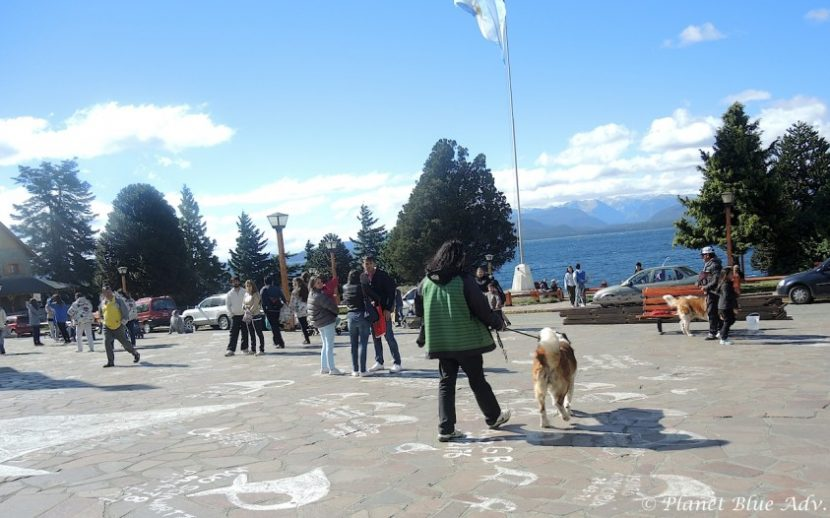Civic Center Plaza, the town square  is also famous for its Saint Bernard dogs.  Owners wait for tourists to pose for photos with the their dogs.  Painted on the ground are memorials to the disappeared from the 70's from Argentina's dark past.