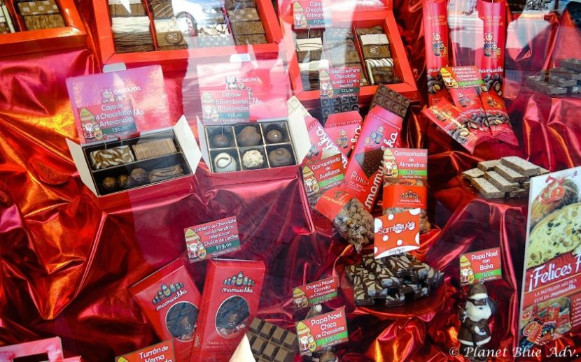 Mamuschka's famous chocolates on display in Bariloche, Argentina