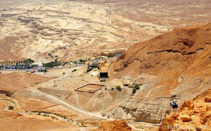 Israel in Photos: View of Masada visitor centre and tram.